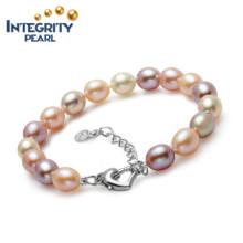 Естественный пресноводный браслет перлы AAA Форма падения 8-9mm прелестно браслет перлы женщин