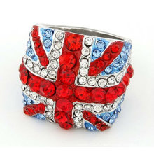 Grosses soldes! Tresor Paris Anneaux de drapeau britanniques Bagues de cristal Shamballa FR01