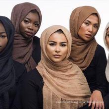 Women Bubble Plain Wrinkle Hijab Scarf with Fringes Popular Muslim Muffler Shawls Wraps Large Pashmina (SW104)