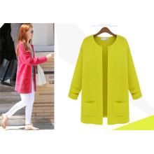 OEM пользовательских Последние дизайн женщин вскользь пальто Элегантный карандаш свитер куртка