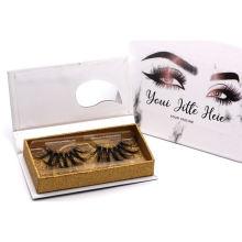 X061T Hitomi Custom Eyelash Packaging Box Handmade Mink Eyelash Strips Clear Band Luxury Real Fluffy 3D Mink Eyelashes