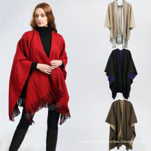 New style poncho 2017 winter warm plain color hand knitted women fashion poncho