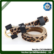 Pu Women Belts Leopard Thin for Female Dress Jeans Fashion Vintage Cinto Straps