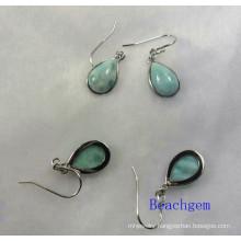 Sterling Silver Larimar Jewellery Earrings (E1196)