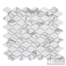 C&K Mosaic Hexagon Glass Mosaic Tile Backsplash Kitchen