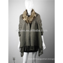 Acrylic Poncho cape with faux fur