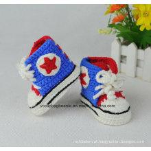Chapéu bordado feito à mão do capitão América do bebê e sapatas macias dos esportes