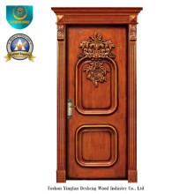 Puerta de madera maciza europea clásica con talla (ds-8009)