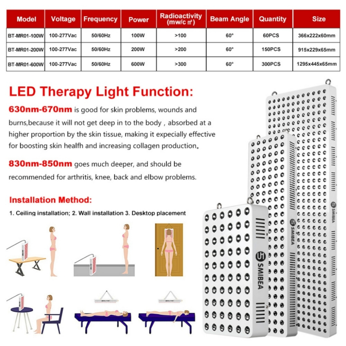 Professional Red Infrared Color Led Light PDT Equipment