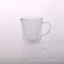 Einzigartige Form Borosilikat Doppelwand Glas Teetasse