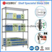 NSF 4 camadas Exposição de metal cromado Display Wire Shelf Rack