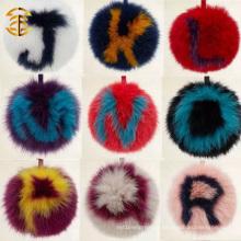 Soft Real Fox Fur Pom Poms Keychian Avec Alphabet