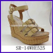 SR-14WHE525 2014 platform chunky wedge heel sandals PU women sandals new model women wedge sandals