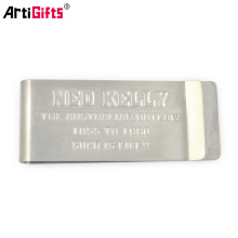 Metal souvenir shiny brushed stainless steel blank money clip