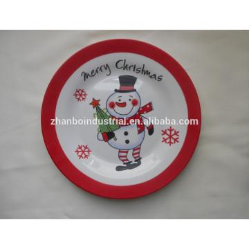 Plato plano de cerámica con plato de porcelana de calcomanía completa para recuerdos de Navidad