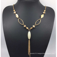 Colorful Beads Pearl Sweater Necklace (XJW13763)