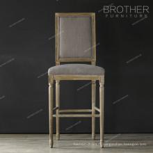 Chaise de bar à dossier carré en tissu