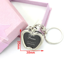 Fashion Zinc Alloy Apple Shape Photo Frame Metal Keyring