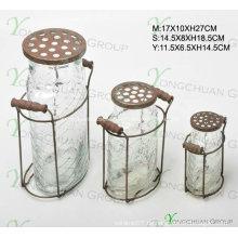 Glas Kerzenständer mit Metalldeckel Nizza Flaschen