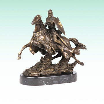 Knight Metal Sculpture Horse Soldier Deco Bronze Statue Tpy-451
