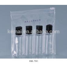 embalagem de cosméticos garrafa de garrafa clara vazia com conjunto de garrafa de viagem de plástico