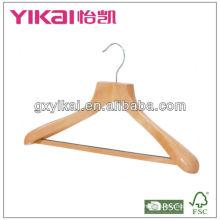 wooden coat hanger with wide shoulder,round bar and noen-slip tube