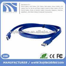Фабрика продает плоский кабель USB 3.0 AM / AM мужчина к мужчине голубой 0.35m 0.5m 1m 1.5m 2m