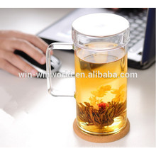 Personal Big Thermal Thin Glass Bubble Tea Cup Wholesale With Handle And Lid