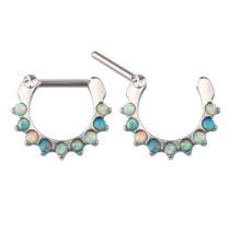 Custom ASTM F136 Titanium Septum Nose Ring Colorful Opal Press Fit Hoop Piercing Clicker