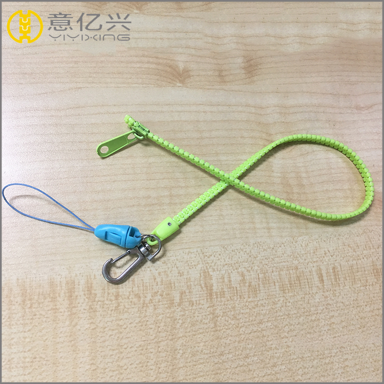 zipper lanyard with rubber puller