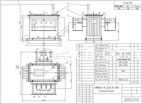 100kva distribution transformer drawing