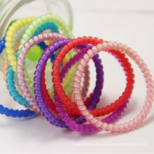 Elásticos de cabelo impermeável fio elástico espiral anel de telefone hairbands (je1572)
