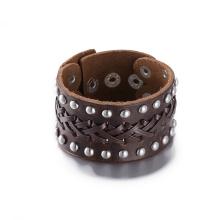 Hot Sale Vintage Board Bracelet Made of Cowhide Silver Plated Leather Bracelet