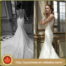 AR04 Morden Style Long Train High Quality Lace See Through Neck Illusion Back Wedding Dress Mermaid Plus Size