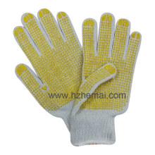Gants en polycoton en tricot Gant de travail de sécurité PVC poinçonné aux deux côtés