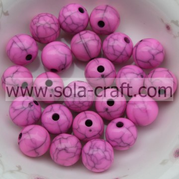 Coole ketting Rose Color Round Acrylic Gumball Cracked Effect Beads