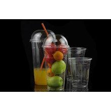 Tasse claire en plastique adaptée aux besoins du client jetable d'animal de jus avec le couvercle de dôme