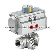 Válvula de esfera pneumática de aço inoxidável de três maneiras com interruptor de limite