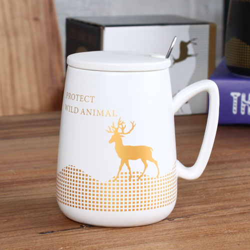 white deer coffee mug