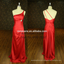 Famous Designer Simple One Shoulder Red Evening Satin Cocktail Maxi Dress