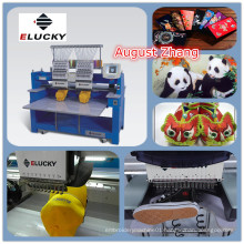 China Shenzhen Elucky high speed two heads embroidery machine with top quality and cheap price for textile embroidery