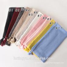 New arrival best selling muslim women viscose fancy side cotton tassels new style hijab scarf