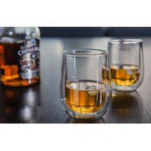 Hecha a mano doble pared de agua de vidrio Whisky Taza para mayorista