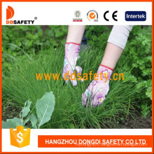 Pink Nylon Flower Design Shell Transparent Nitrile Coating Gloves Dnn358