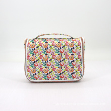 Eco Friendly Floral Printing Cotton Portable Custom Luxury Hanging Travel Toiletry Bag