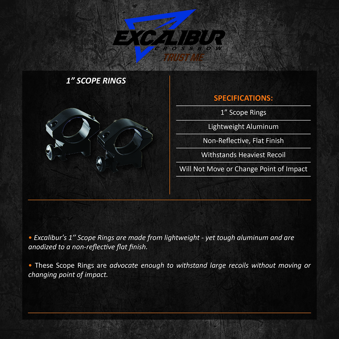Excalibur_1inch_Scope_Rings_Product_Description