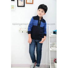 1/4 Zipper Ribbed Quilt Kontrastfarbe Jungen Pullover Stock