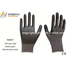 Nylon Shell Nitrile recubierto de espuma Microthin guantes de trabajo de seguridad (N5501)
