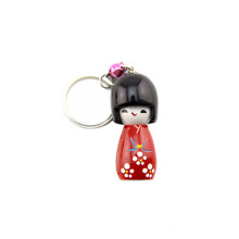 FQ marca atacado personalizado madeira 3d japonês boneca keychain