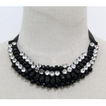 Talão de cristal moda charme chunky traje bib gargantilha colar colar (je0024)